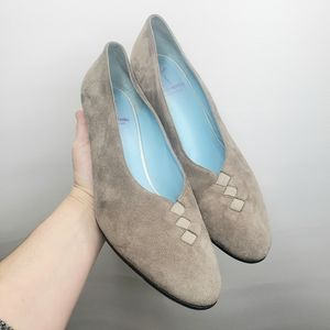 THIERRY RABOTIN Suede Heel Pumps Taupe Size 8